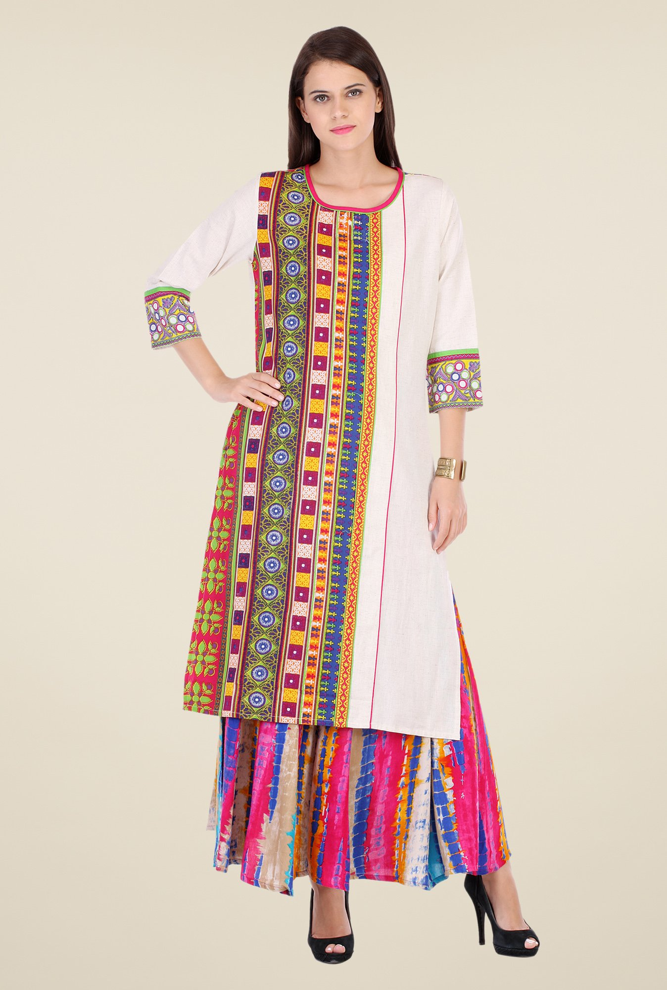 Varanga White Embroidered Kurta With Palazzo