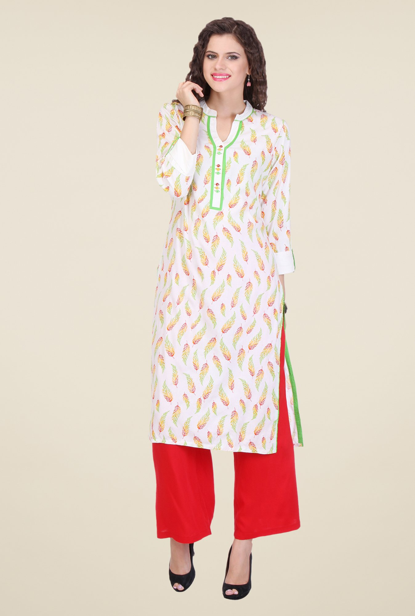 Varanga White & Red Printed Kurta With Palazzo
