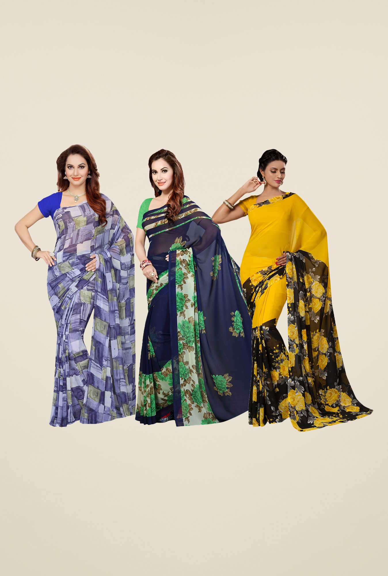 Ishin Blue, Navy & Yellow Printed Cotton Saree (Pack Of 3)