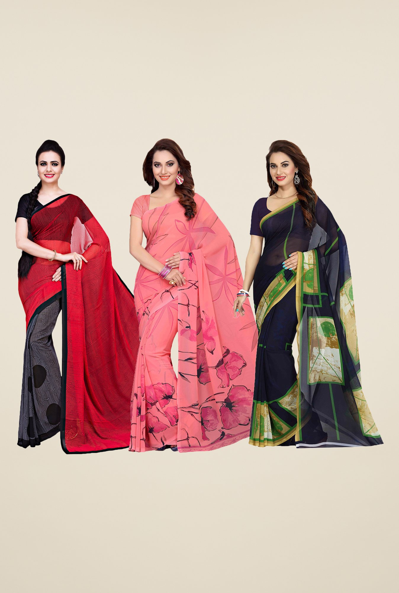 Ishin Grey, Peach & Navy Printed Cotton Saree (Pack Of 3)