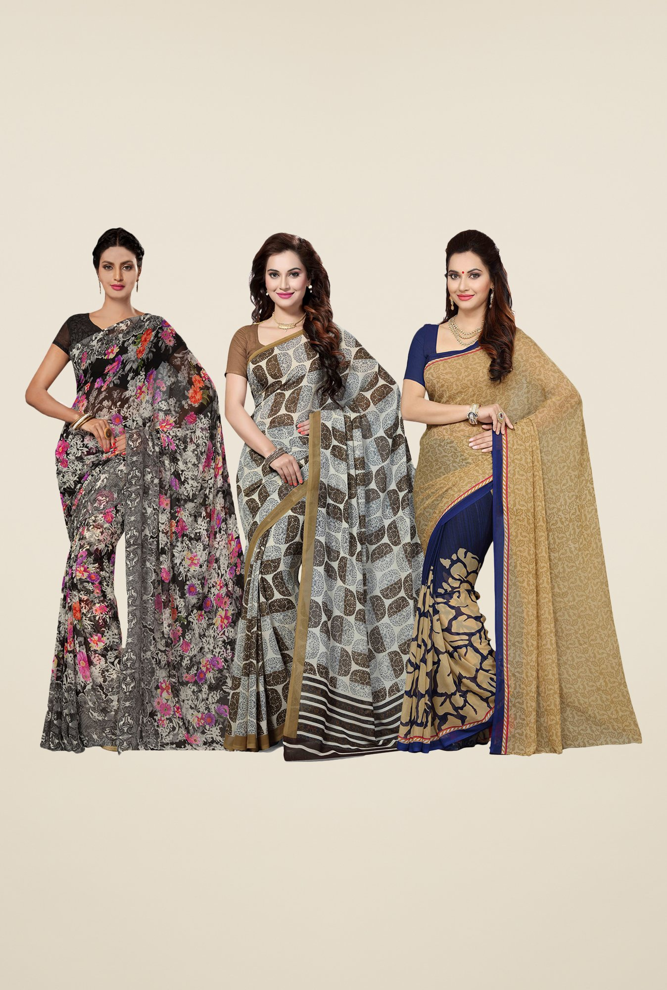 Ishin Black, Brown & Blue Printed Cotton Saree (Pack Of 3)