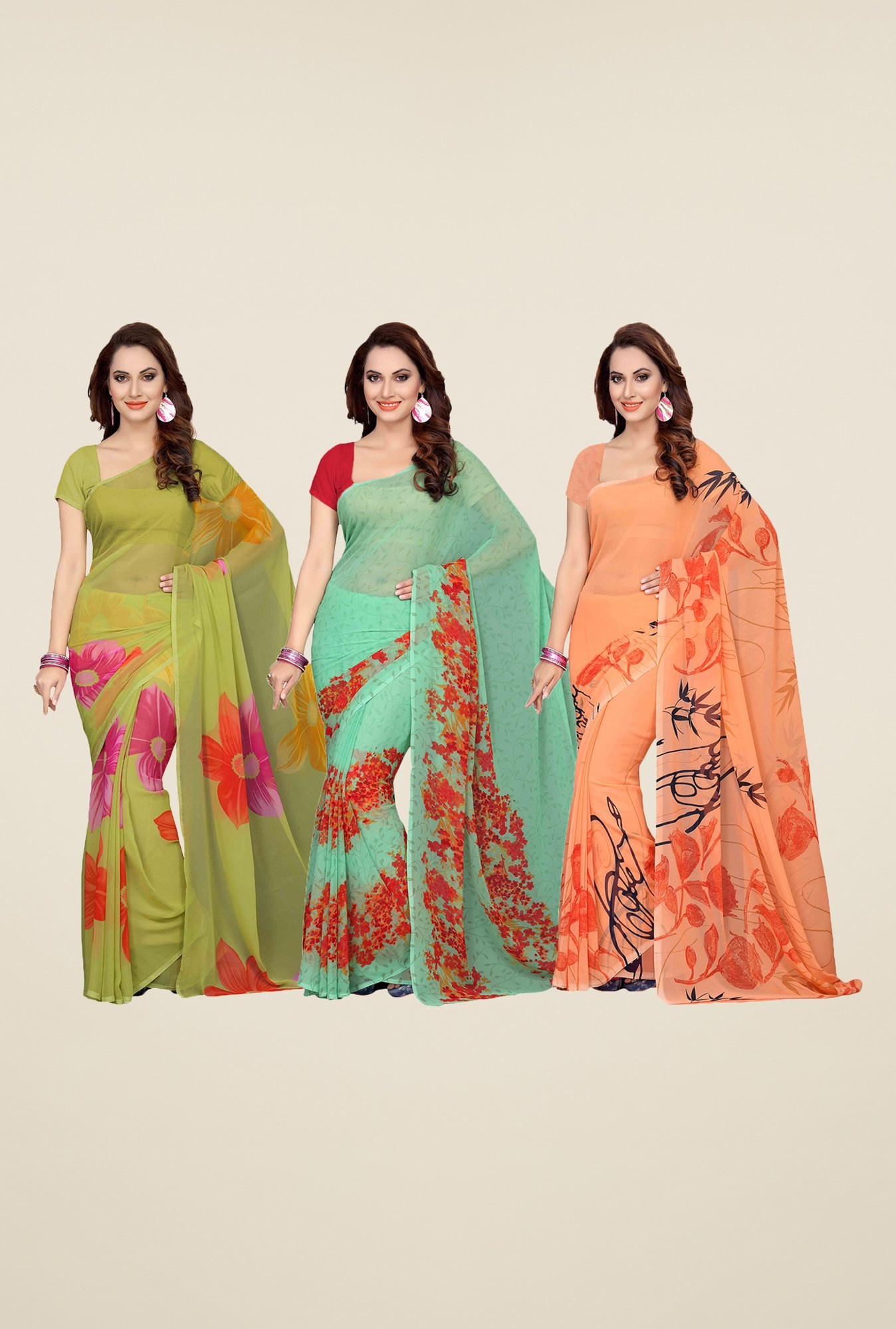 Ishin Olive, Green & Peach Printed Cotton Saree (Pack Of 3)