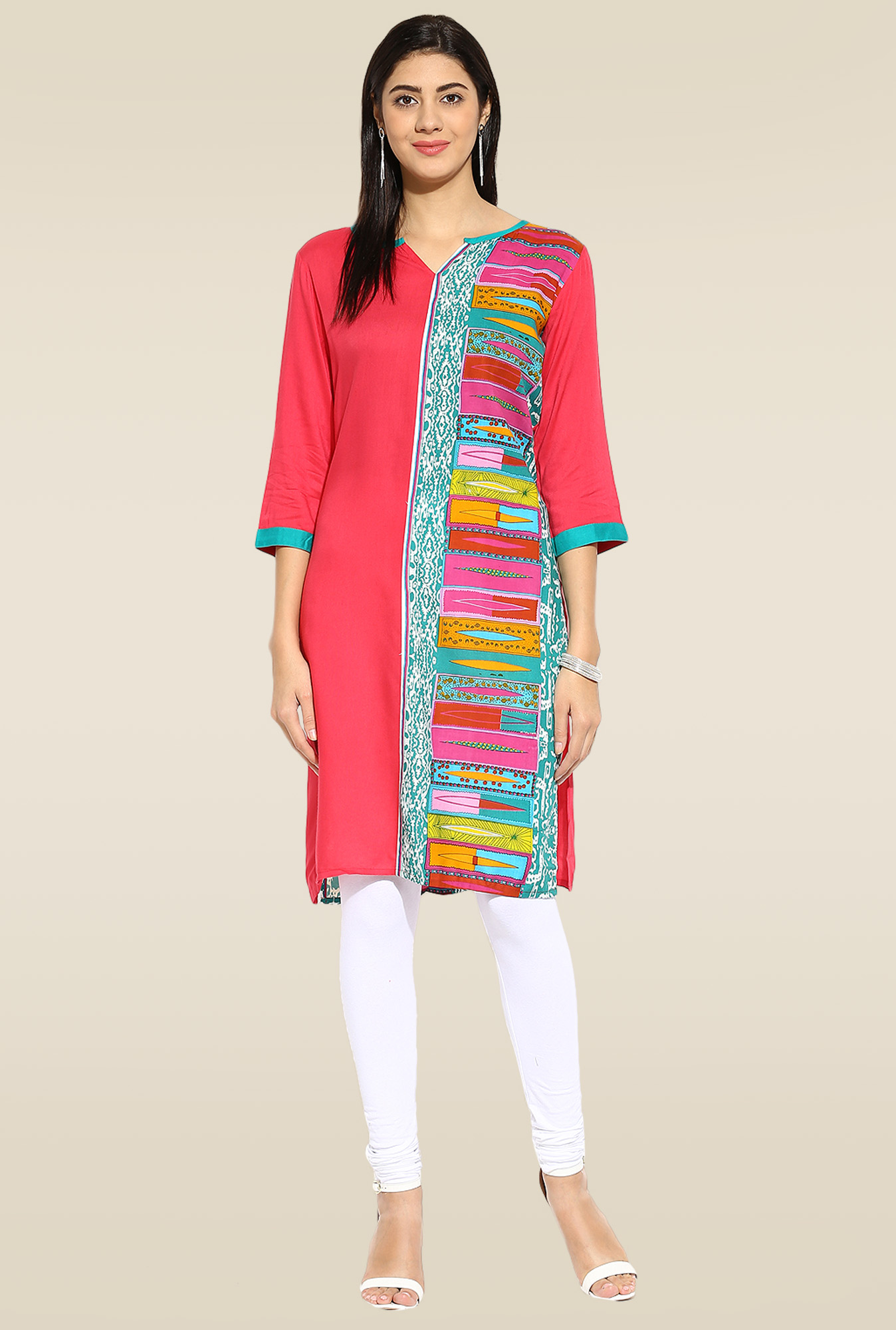 Mytri Red Sweetheart Neck Kurta