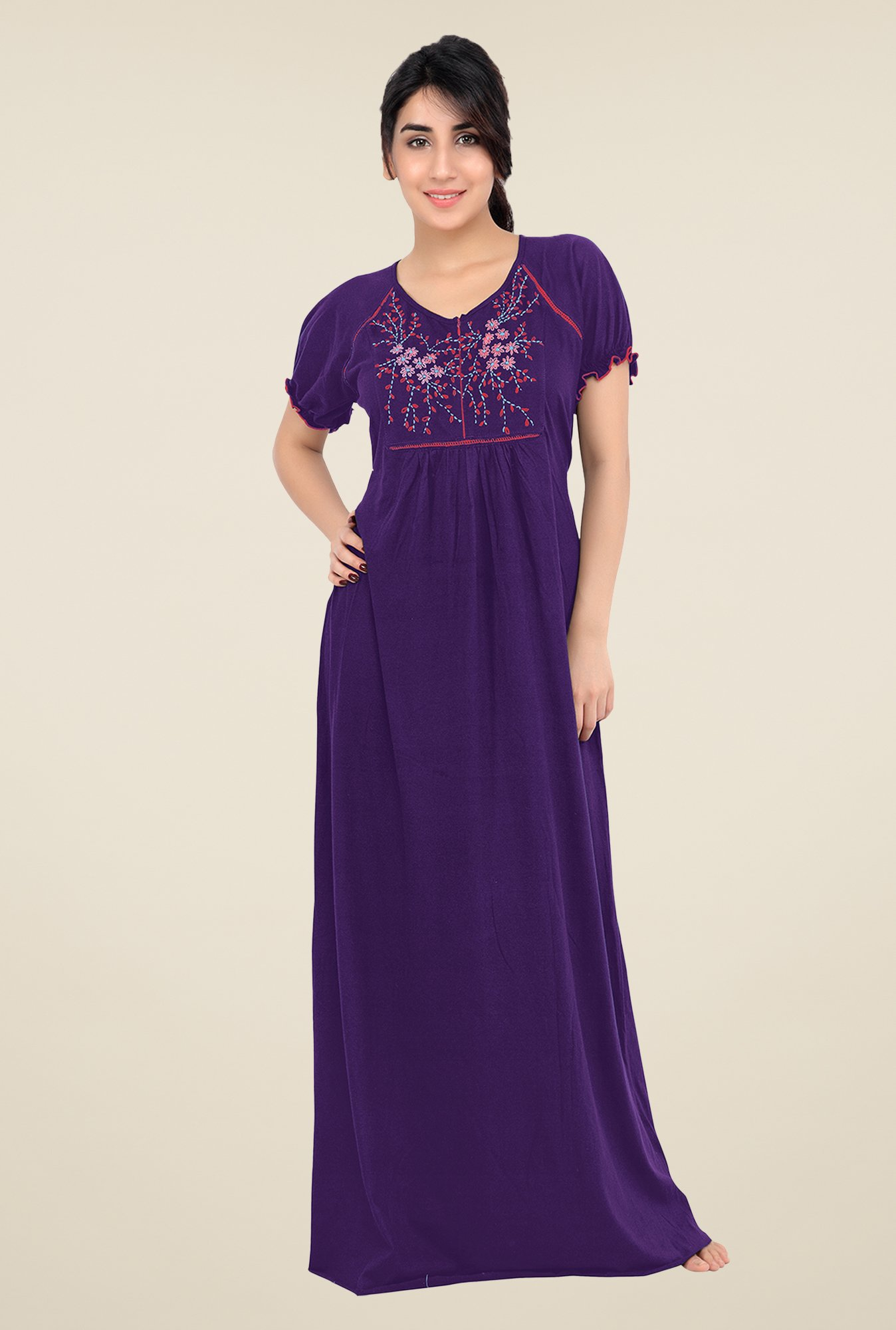 01fd78f45e Buy honeydew Purple Embroidered Night Gown for Women Online   Tata CLiQ