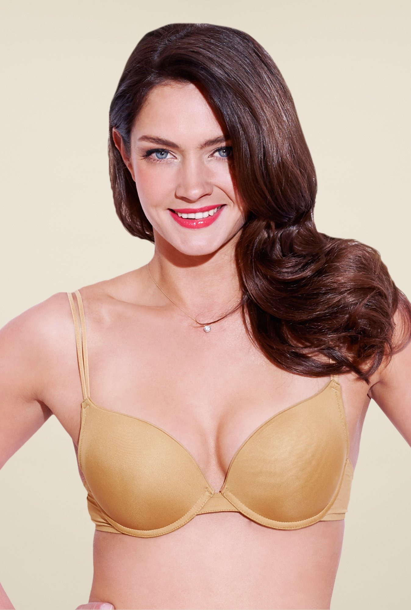 Enamor Tan Under Wired Padded Balconette Bra