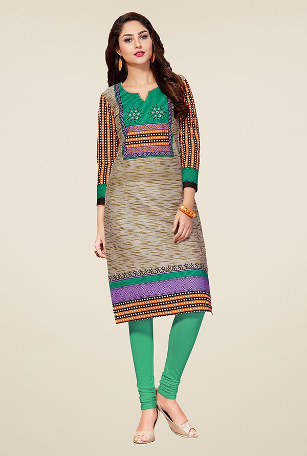 Salwar Studio Brown & Grey Unstitched Kurti