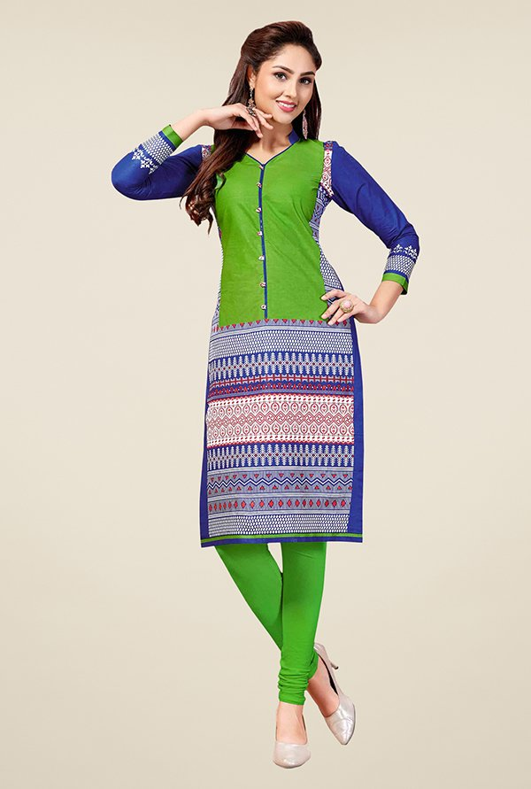 Salwar Studio Green & Blue Unstitched Kurti