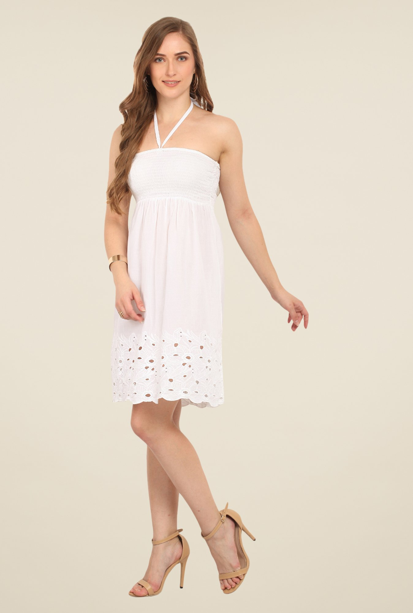 Honey & B White Embroidered Dress