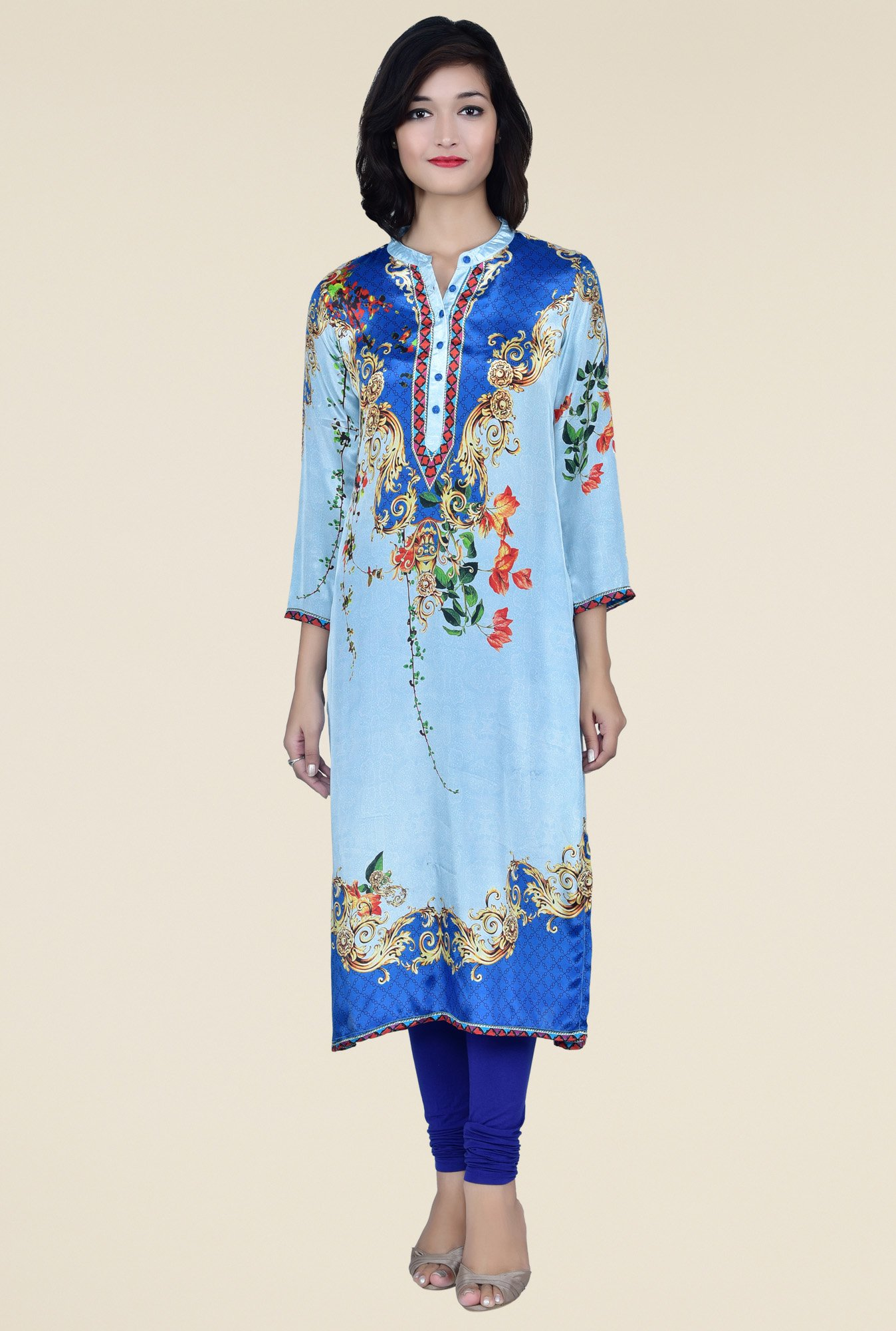 Juniper Blue 3/4th Sleeves Kurta