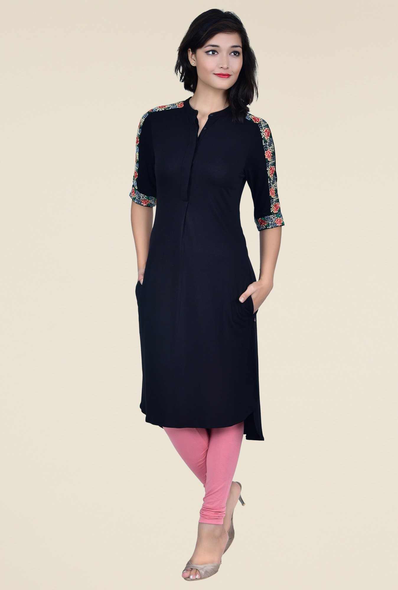 Juniper Black Embroidered Kurta