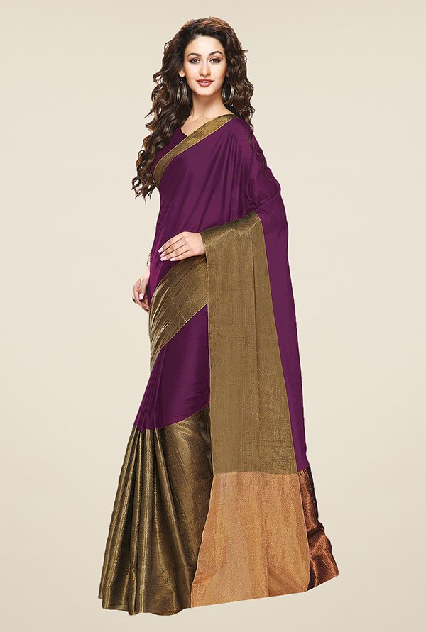 Ishin Purple & Gold Solid Cotton Saree