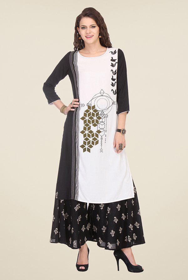 Varanga White & Black Printed Kurta