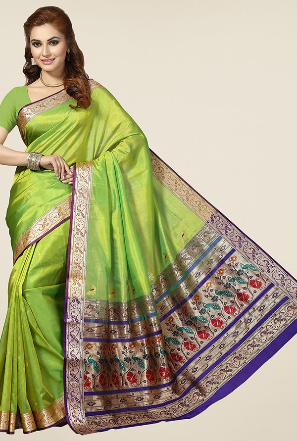 Ishin Green Printed Silk Saree