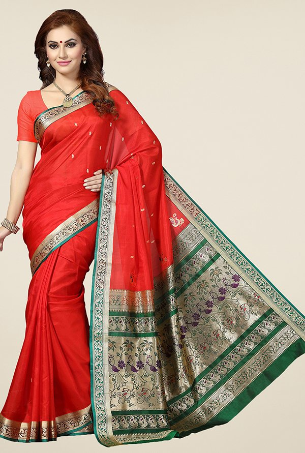 Ishin Red Printed Silk Saree