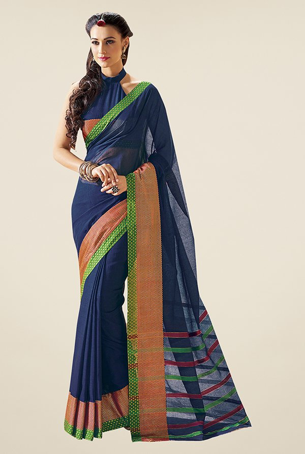 Ishin Navy Solid Cotton Saree