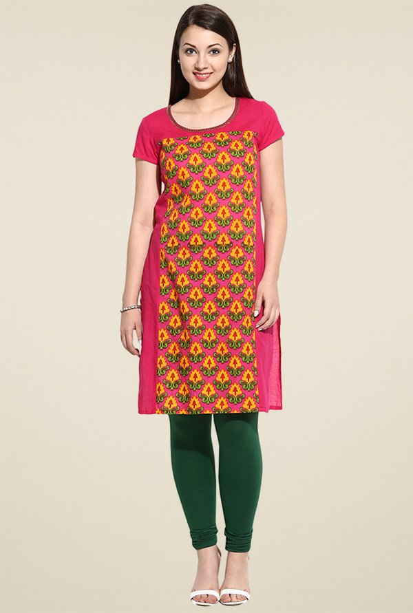 Avaana Pink Round Neck Long Kurta