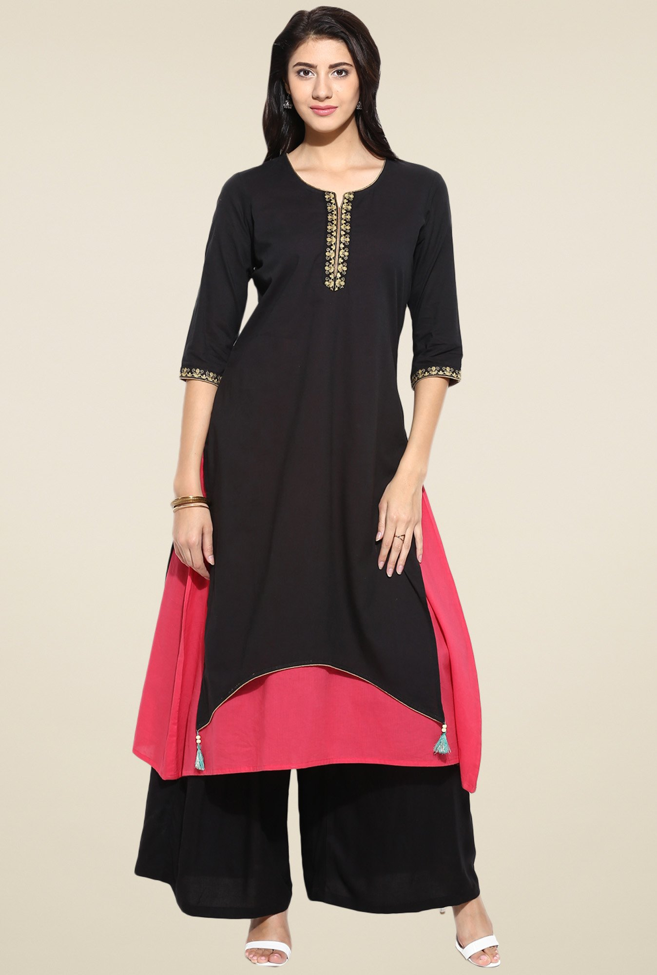 Evam Black Flaired Fit Long Kurta