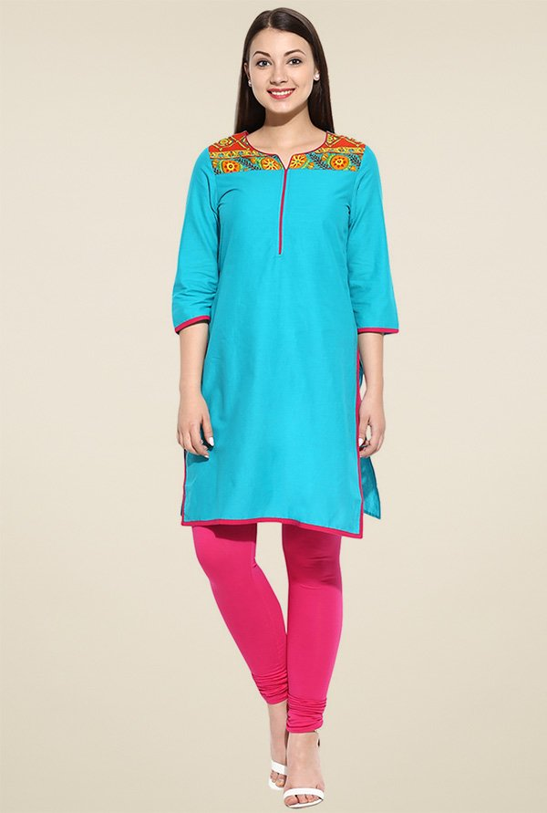 Avaana Green 3/4th Sleeves Kurta
