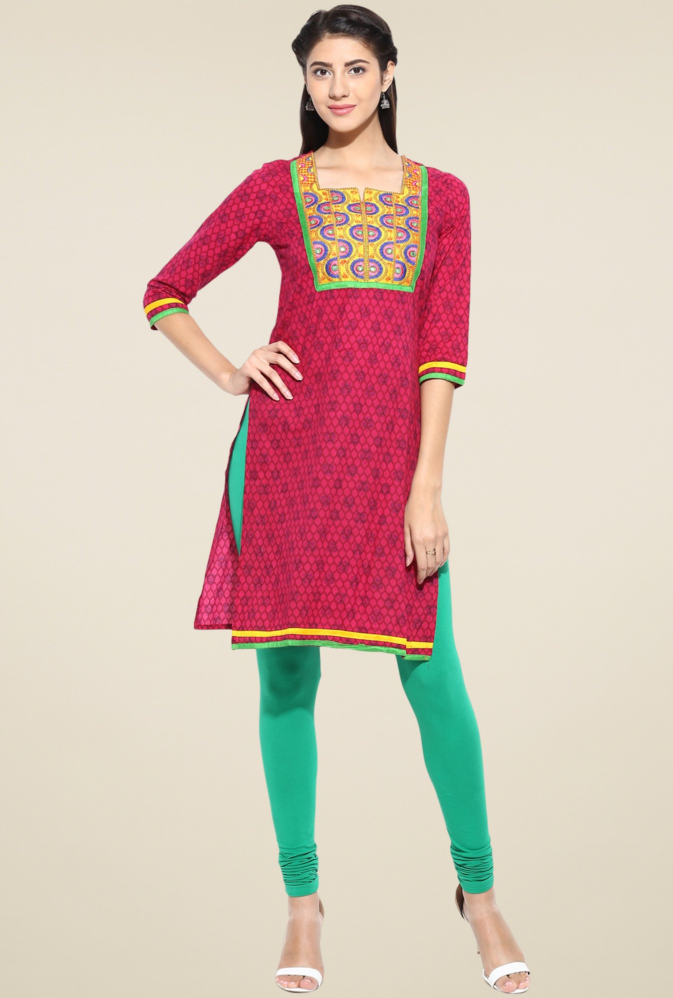 Evam Pink Cotton Long Kurta