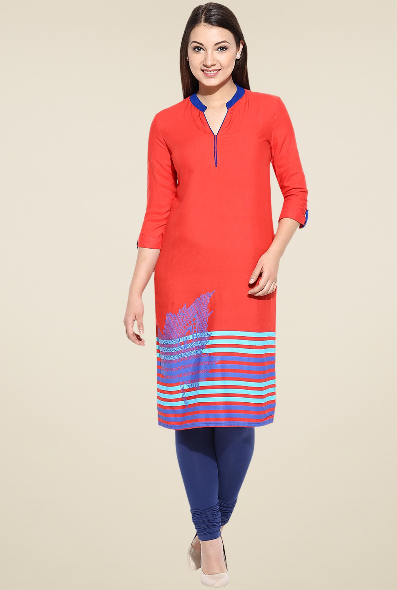 Avaana Orange 3/4th Sleeves Kurta