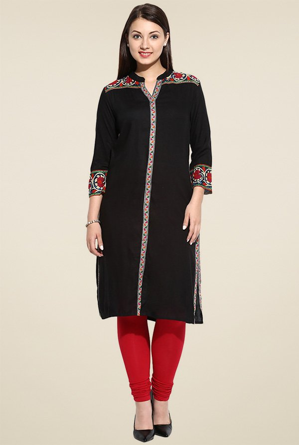 Evam Black Rayon Long Kurta
