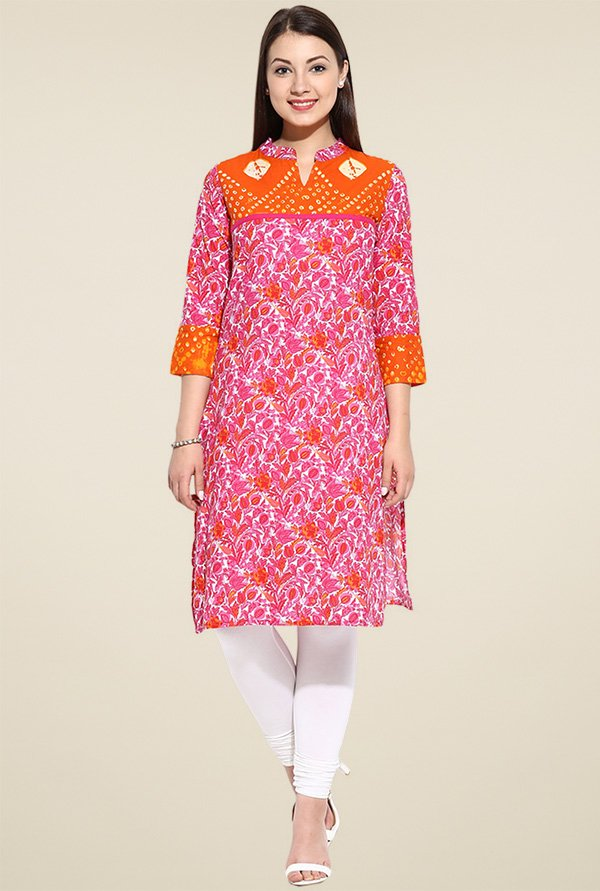 Evam Orange Printed Long Kurta