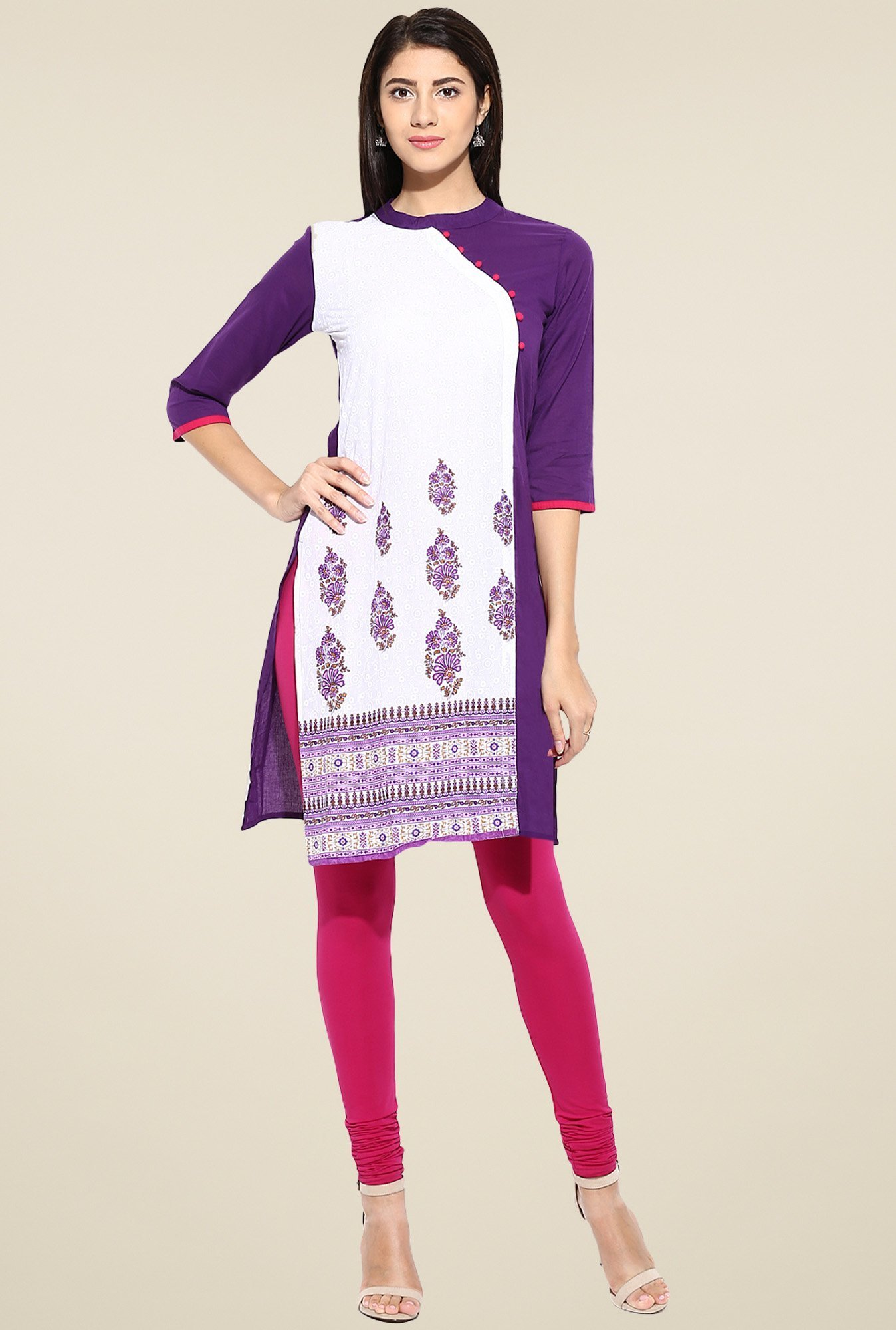 Evam Purple Cotton Straight Long Kurta