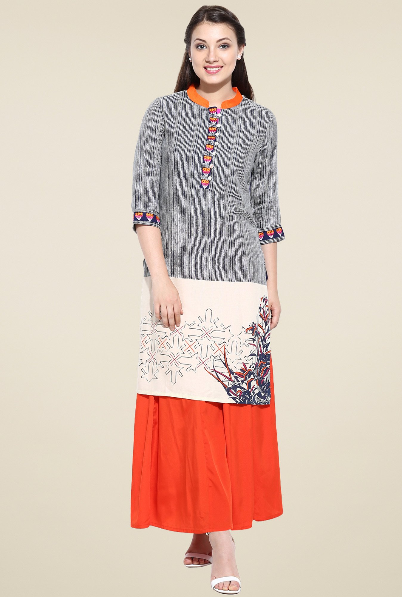 Avaana Blue Straight Long Kurta