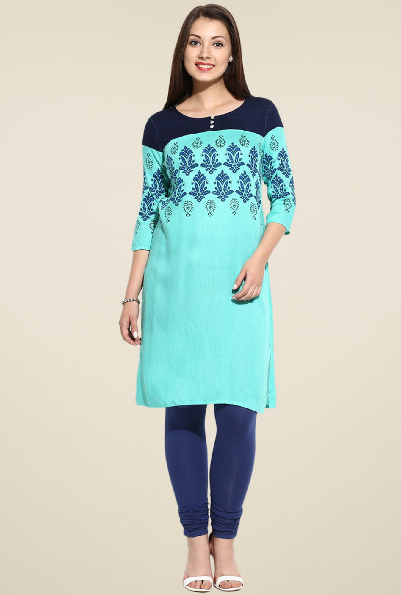 Evam Green A-Line Long Kurta