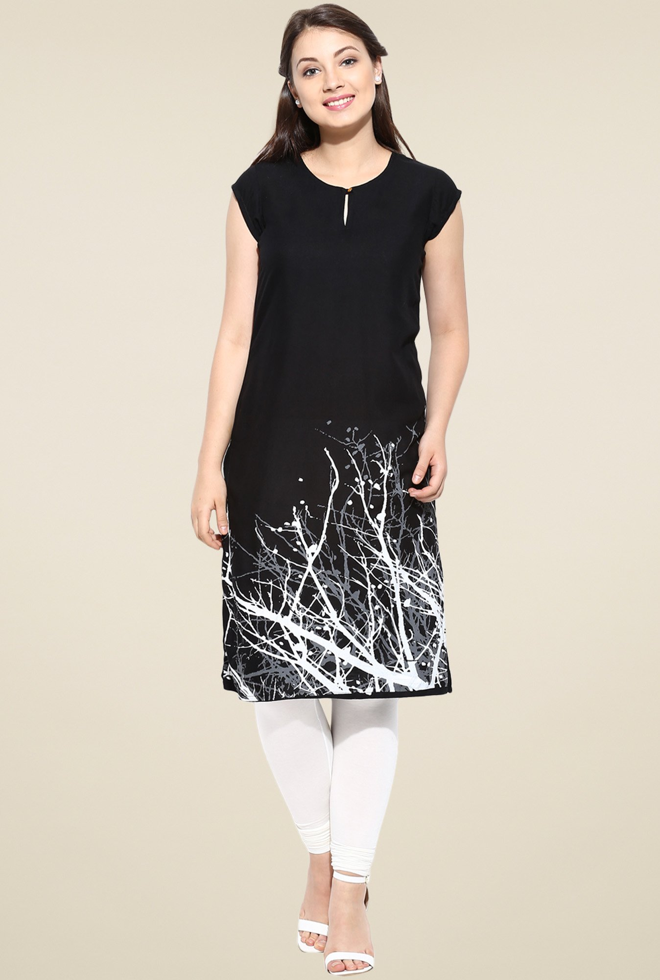 Avaana Black Straight Long Kurta