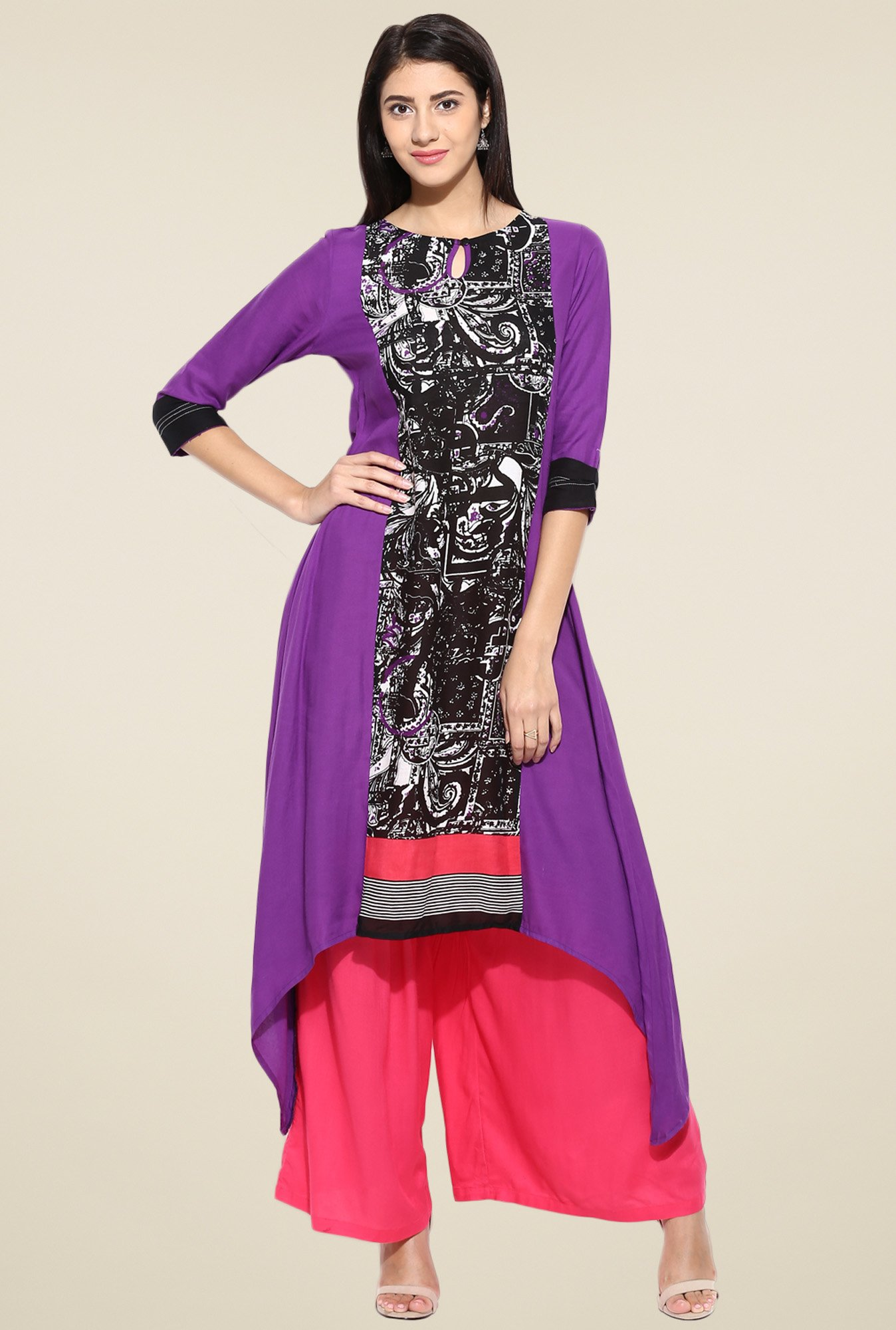 Evam Black Rayon Printed Long Kurta