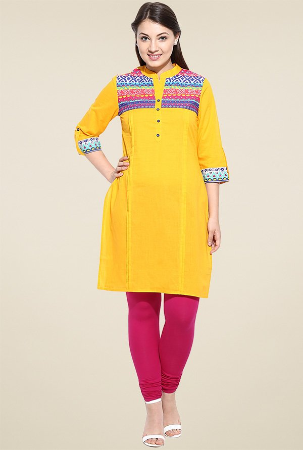 Avaana Yellow Cotton Long Kurta