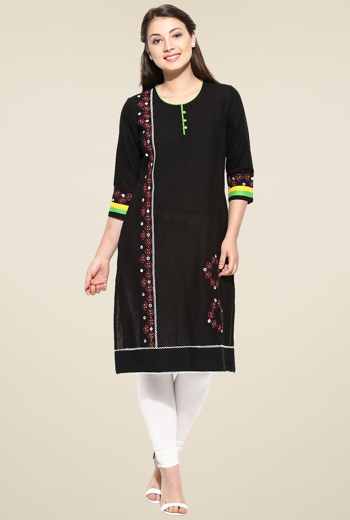 Avaana Black Embroidered Rayon Kurta