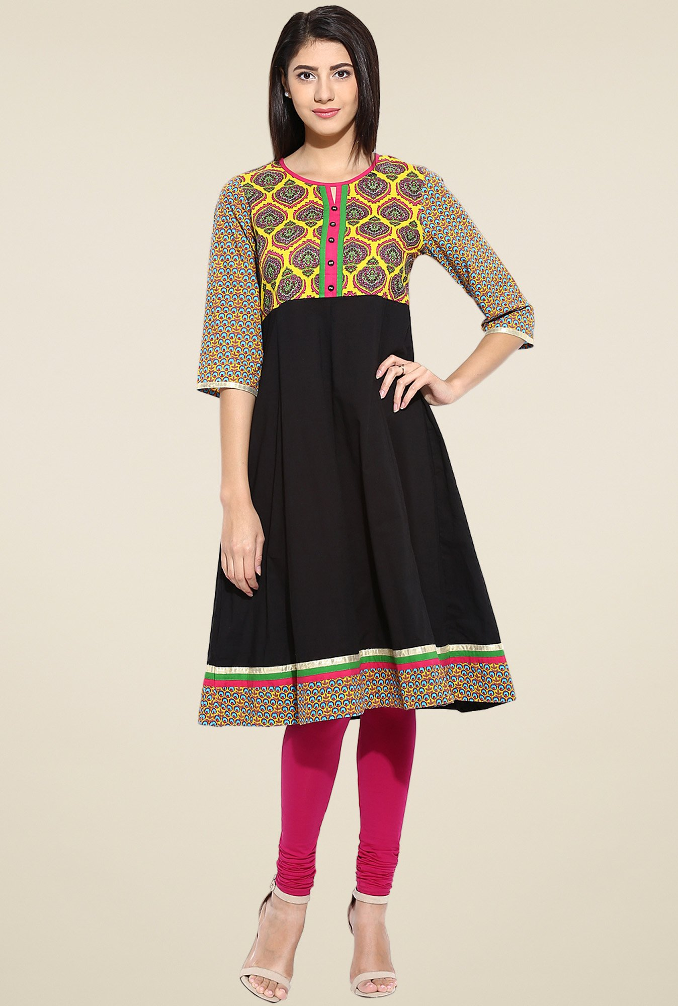 Evam Black Cotton Anarkali Long Kurta
