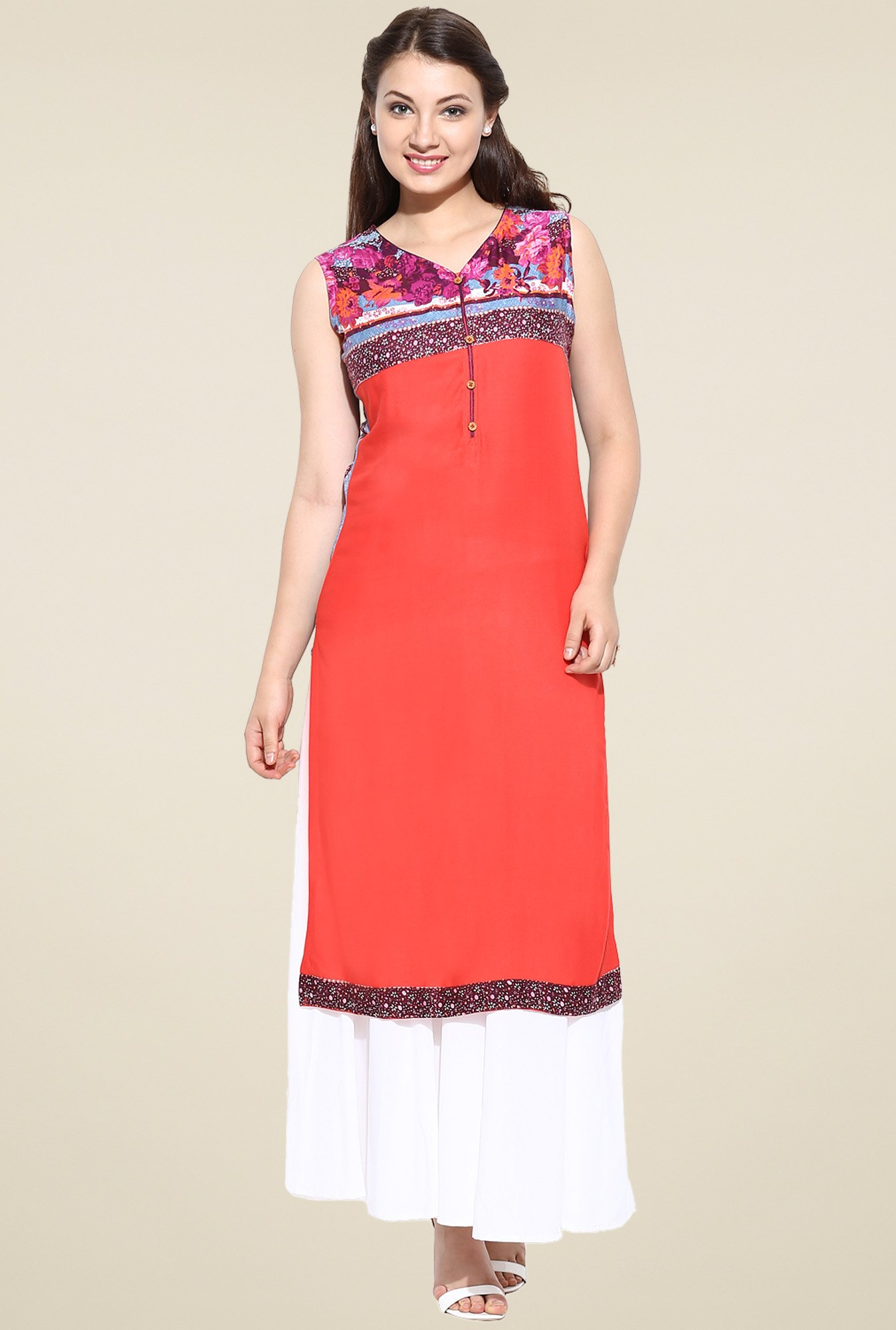 Avaana Orange Straight Long Kurta