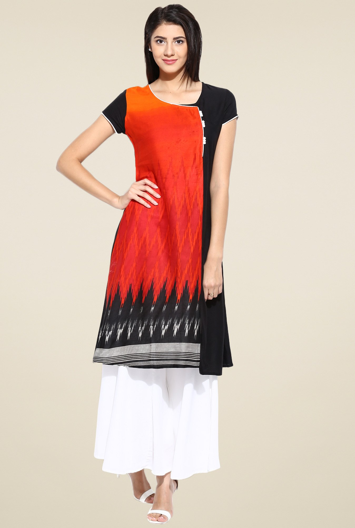 Evam Red Short Sleeves Rayon Kurta
