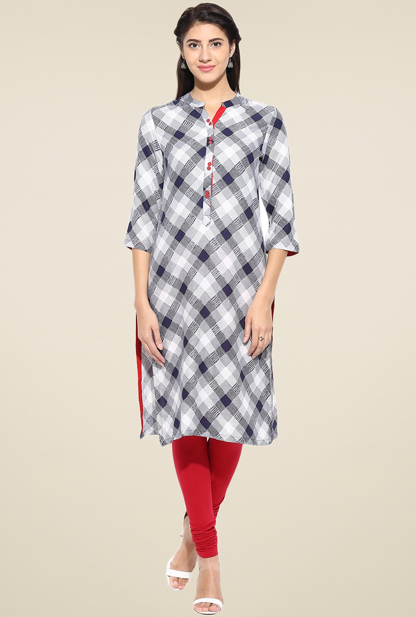 Evam Blue Rayon Straight Long Kurta