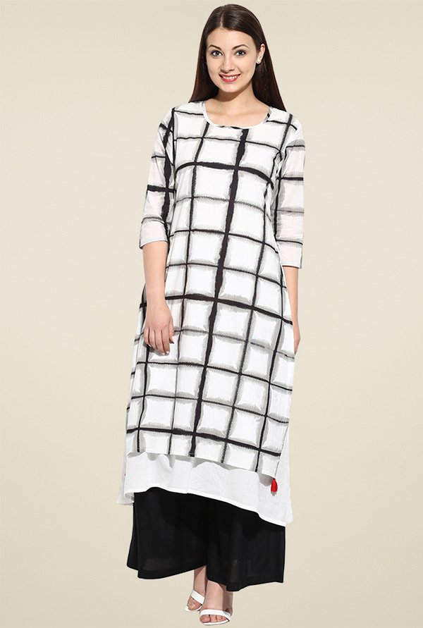 Evam Black Flaired Long Kurta