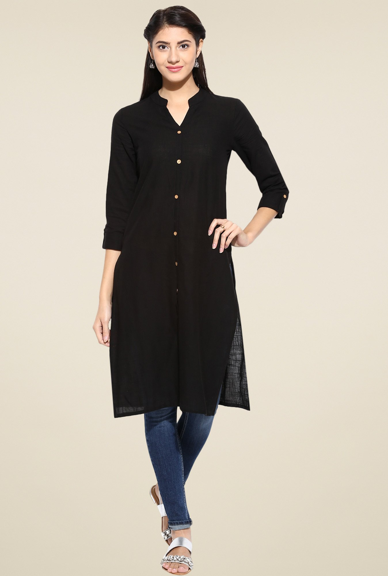 Evam Black Solid Cotton Long Kurta