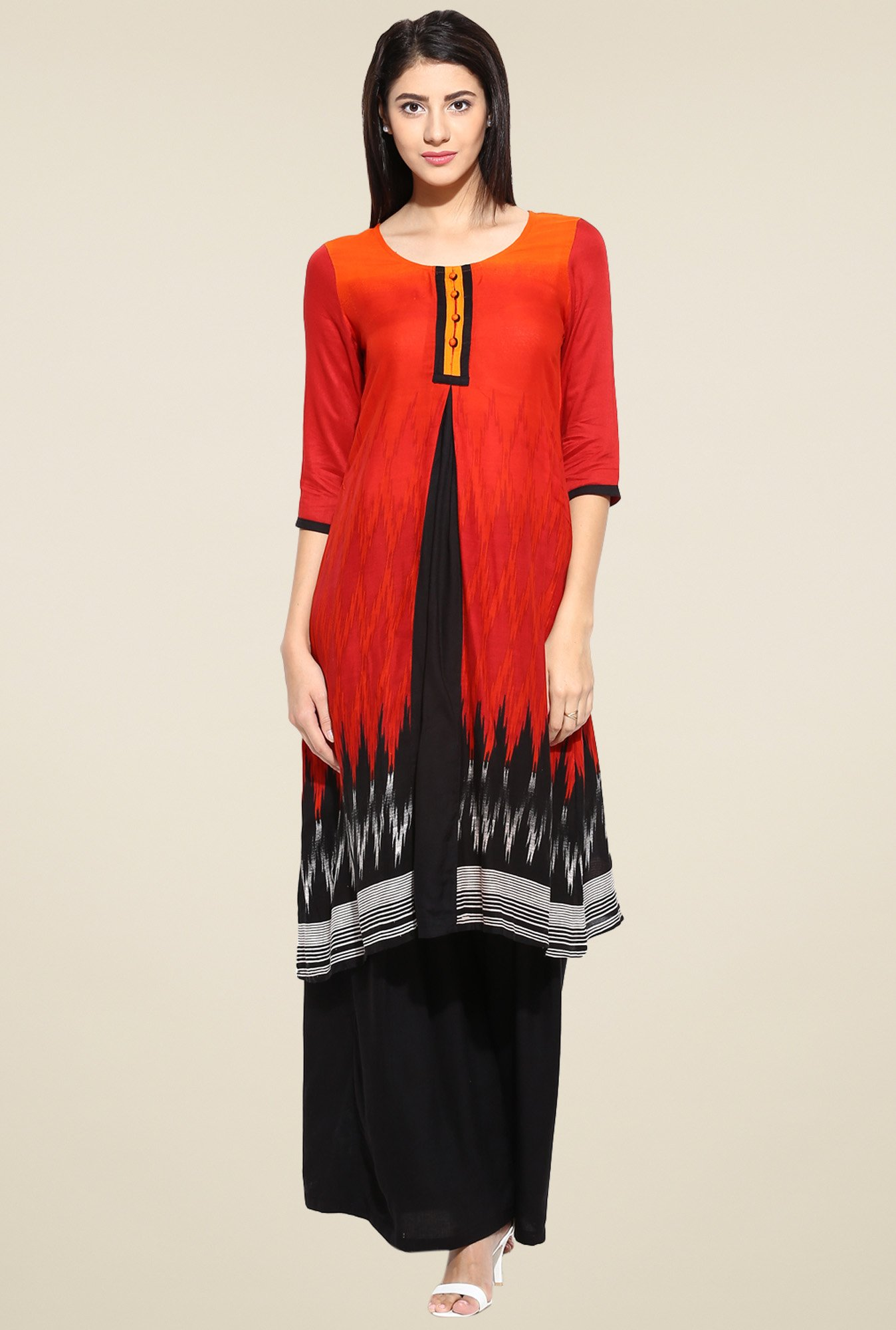 Evam Red Printed Rayon Long Kurta