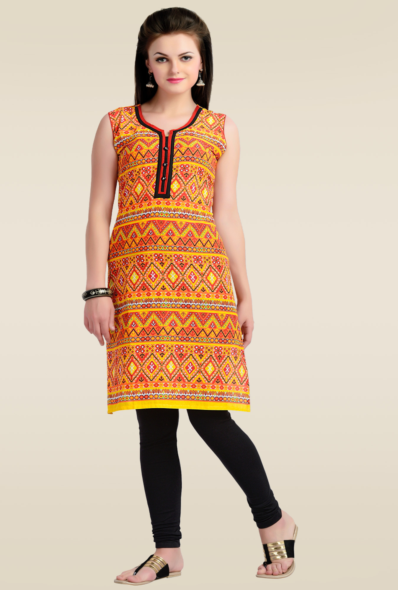 Zola Orange Sleeveless Kurti