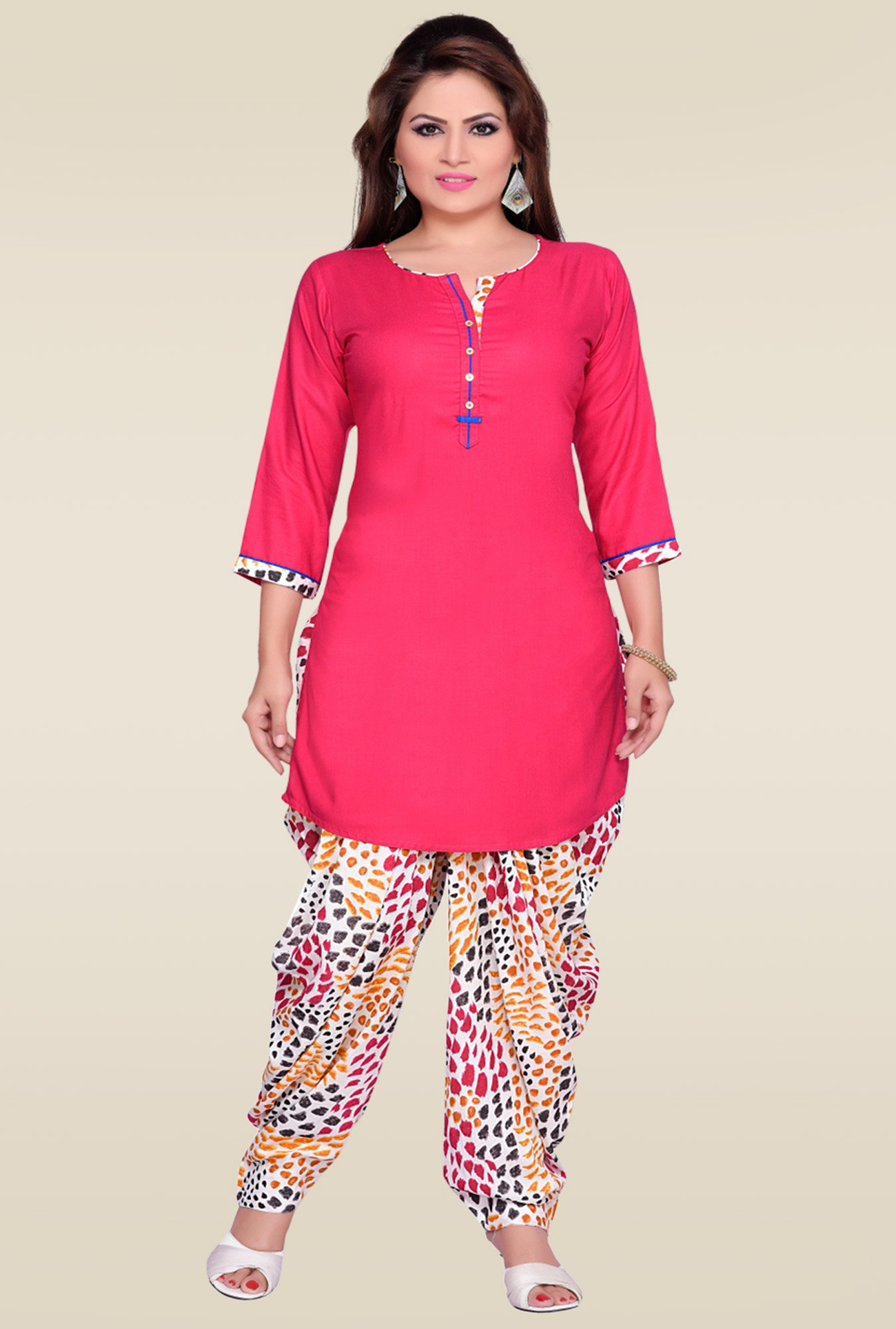 Zola Pink Kurta with Multicolor Printed Patiyala