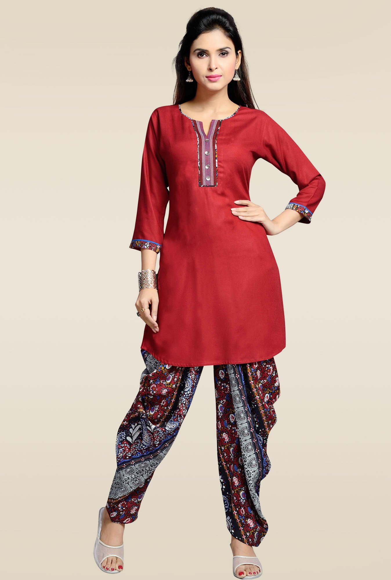 Zola Maroon Kurta with Printed Patiyala