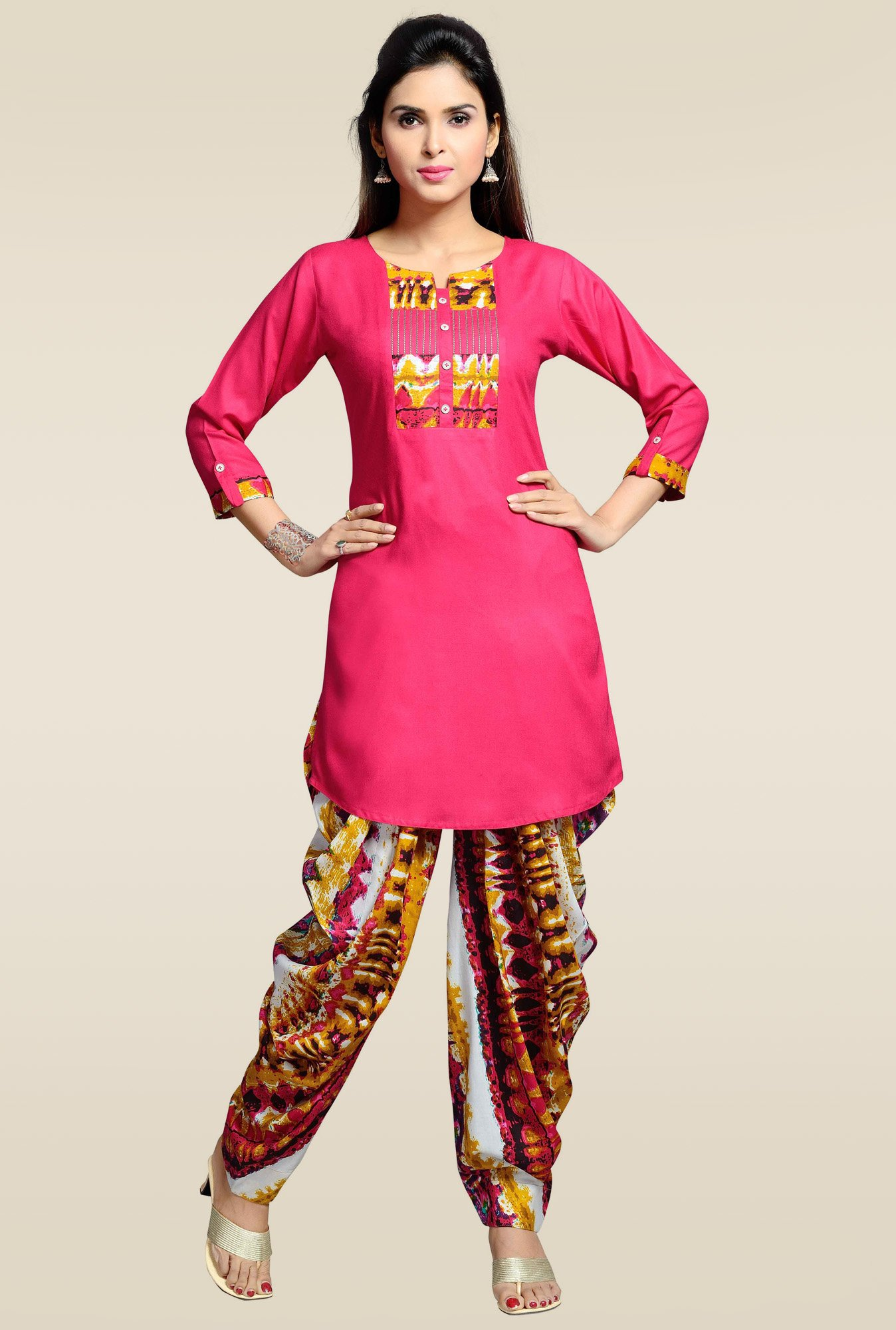 Zola Pink Round Neck Rayon Kurta with Patiyala