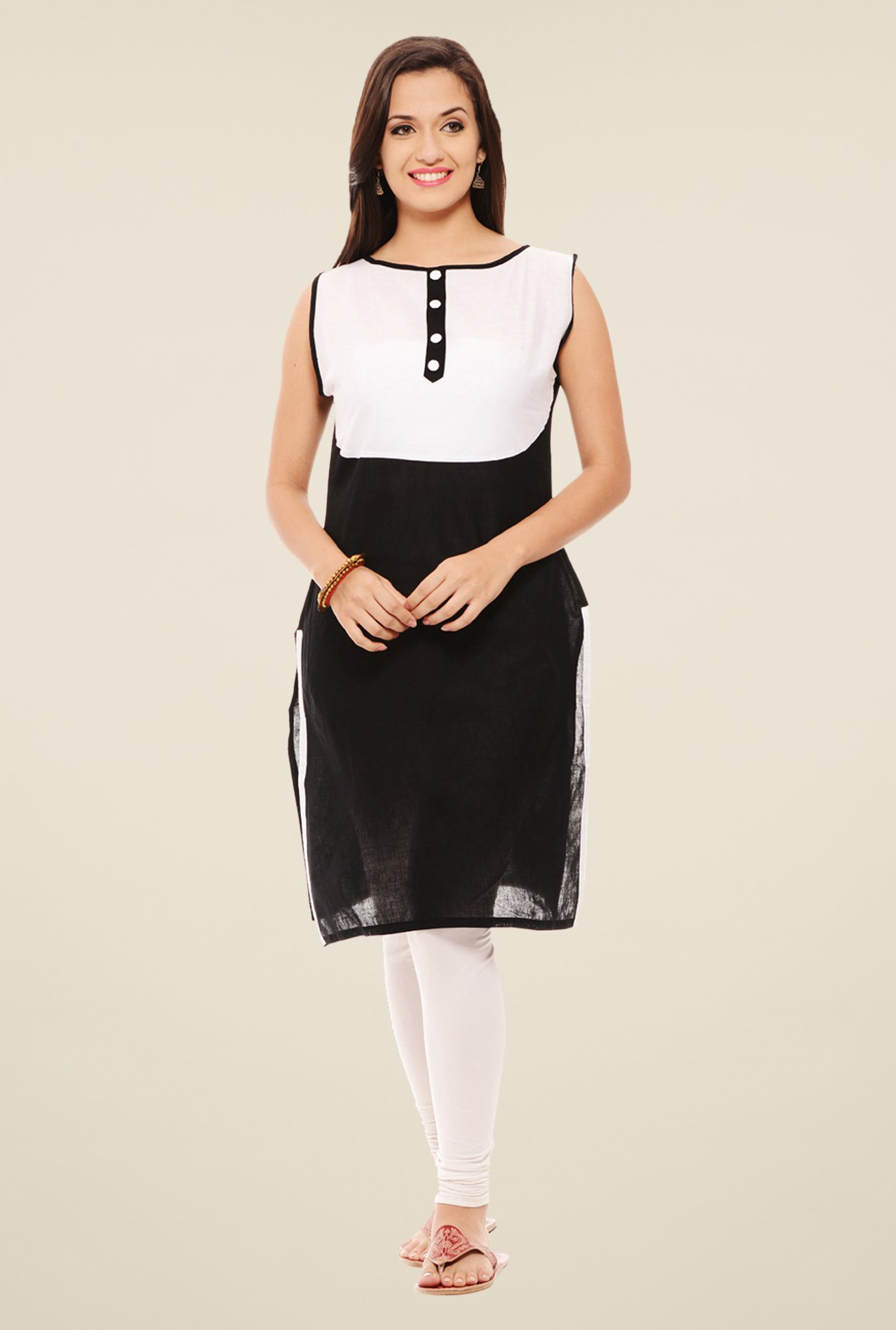 Rigo Black & Off White Solid Kurti
