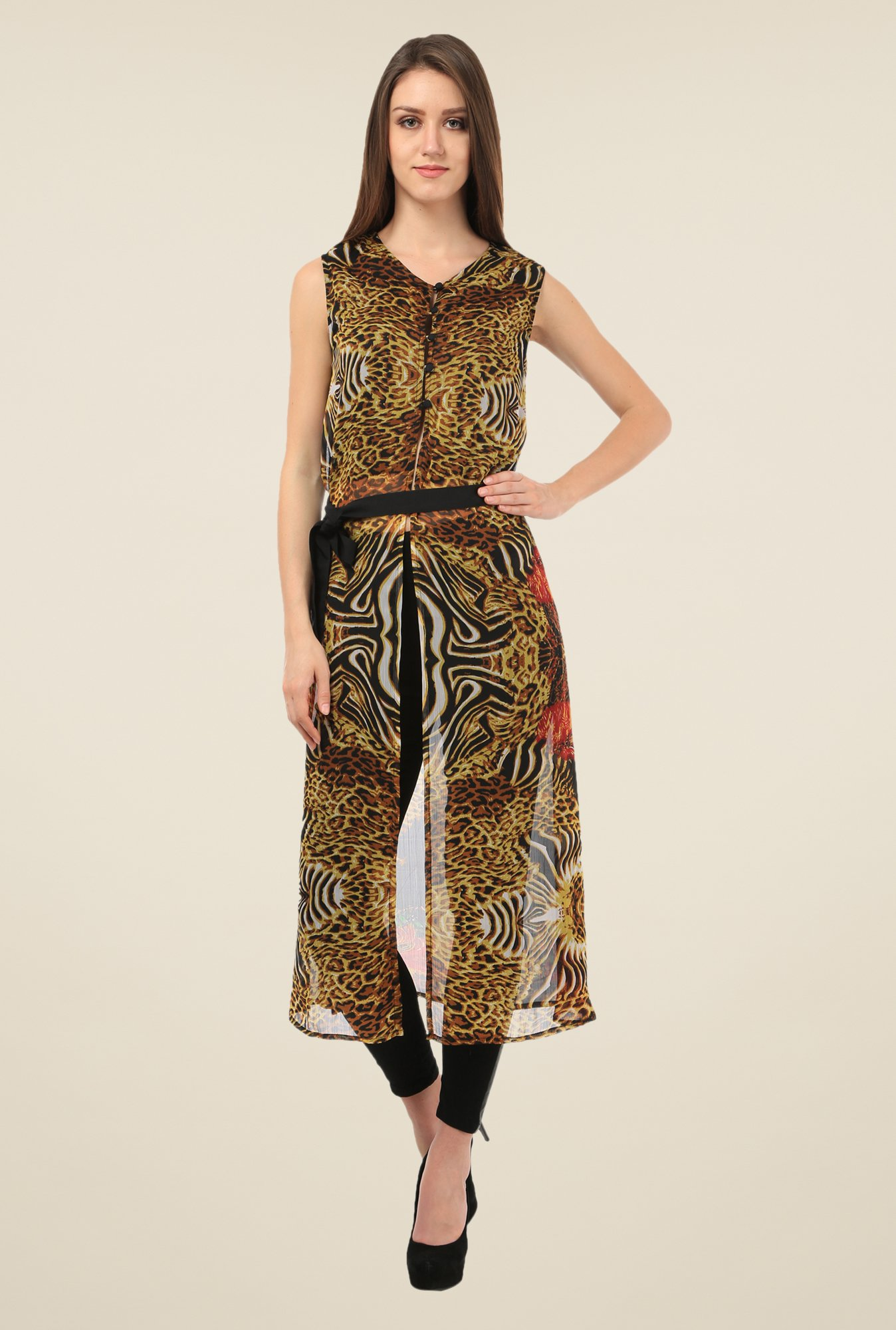 Meee Brown Printed Tunic