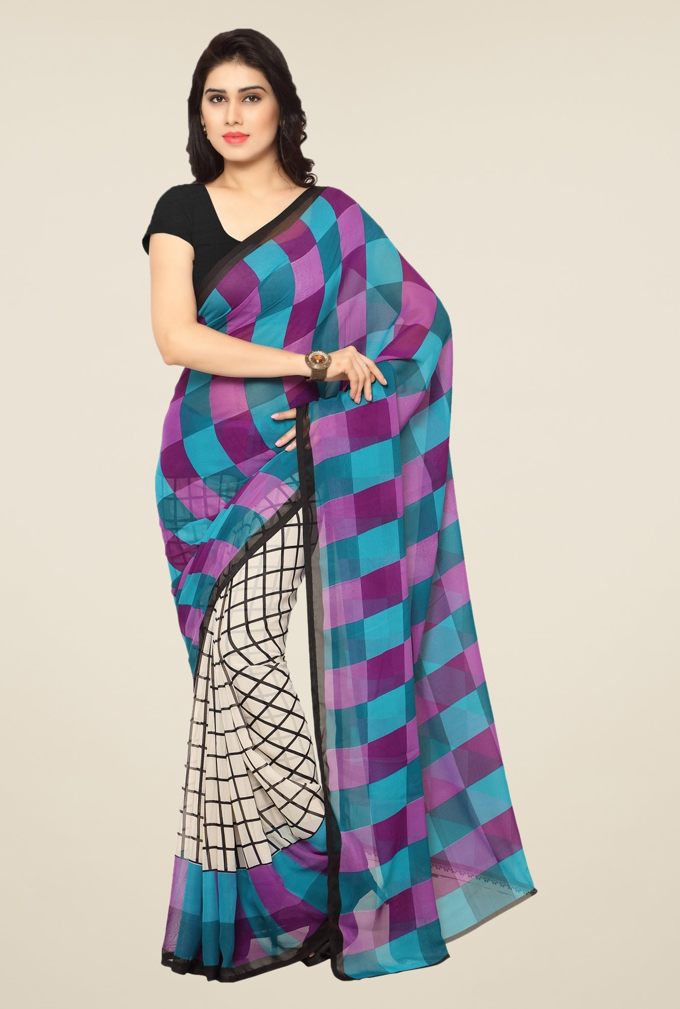 Triveni Teal & Purple Checks Art Silk Saree