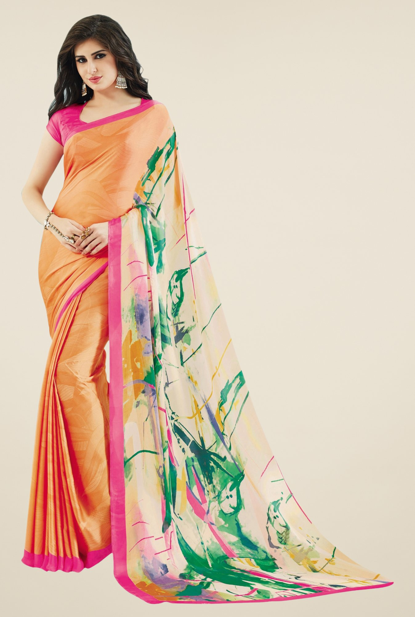 Triveni Orange Printed Crape Saree