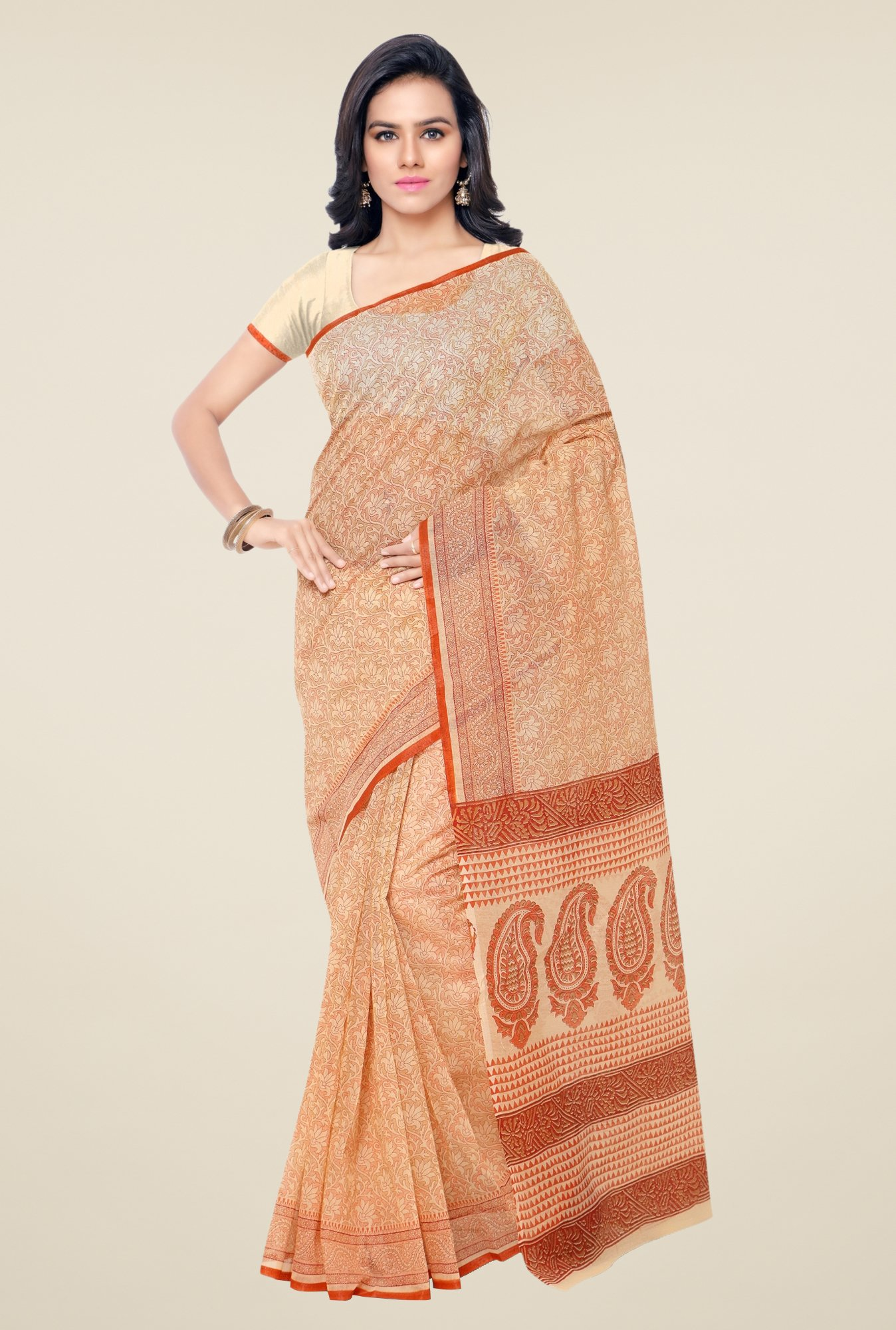 Triveni Beige & Orange Printed Blended Cotton Saree