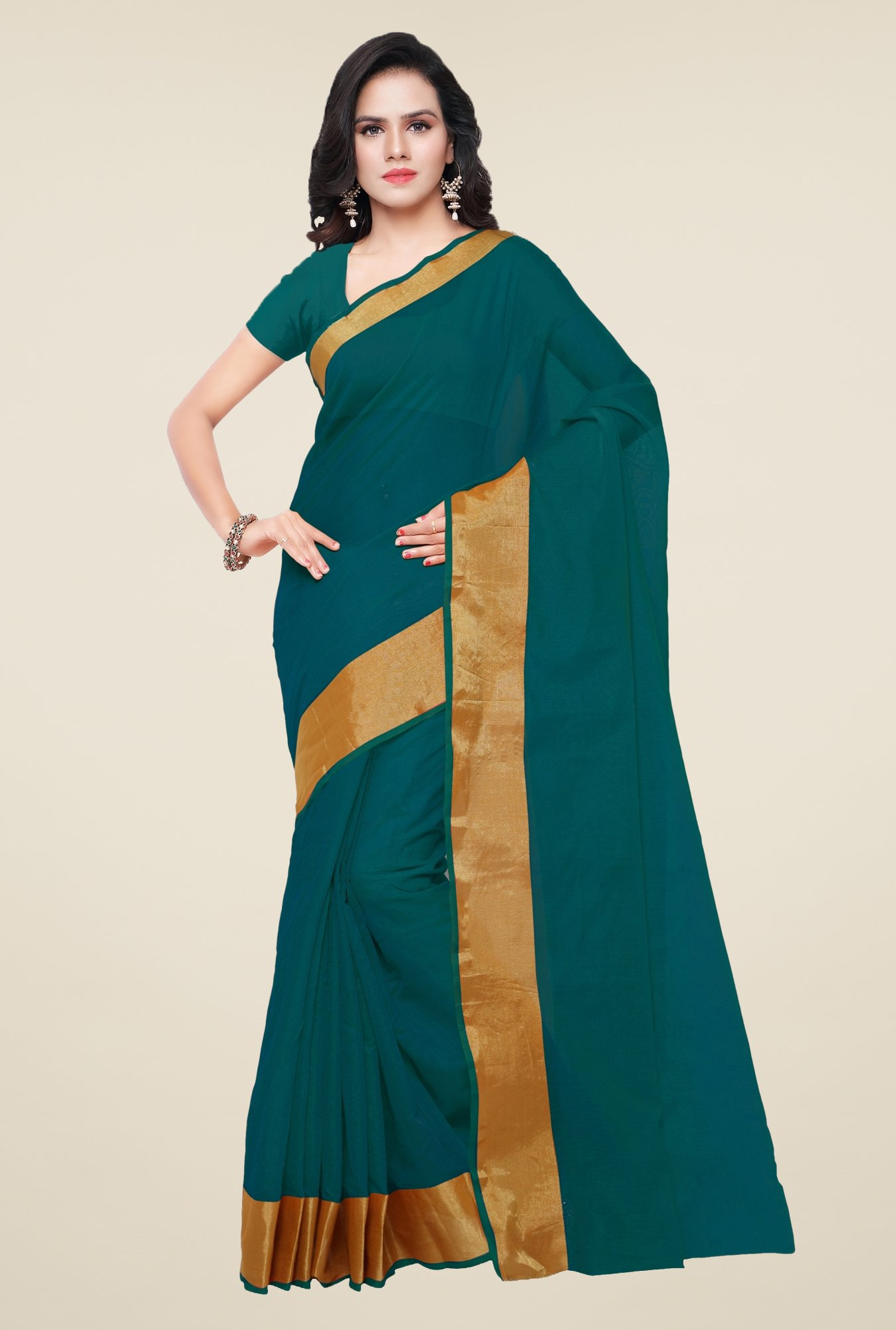 Triveni Teal Art Silk Saree